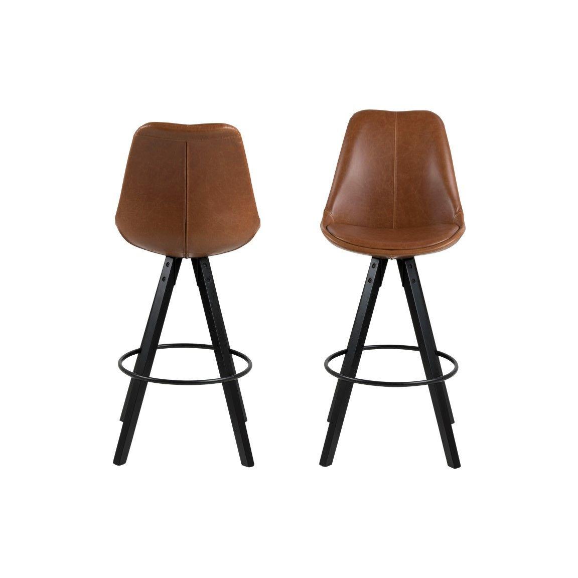 Set of 2 Bar Stools Nida | Brown