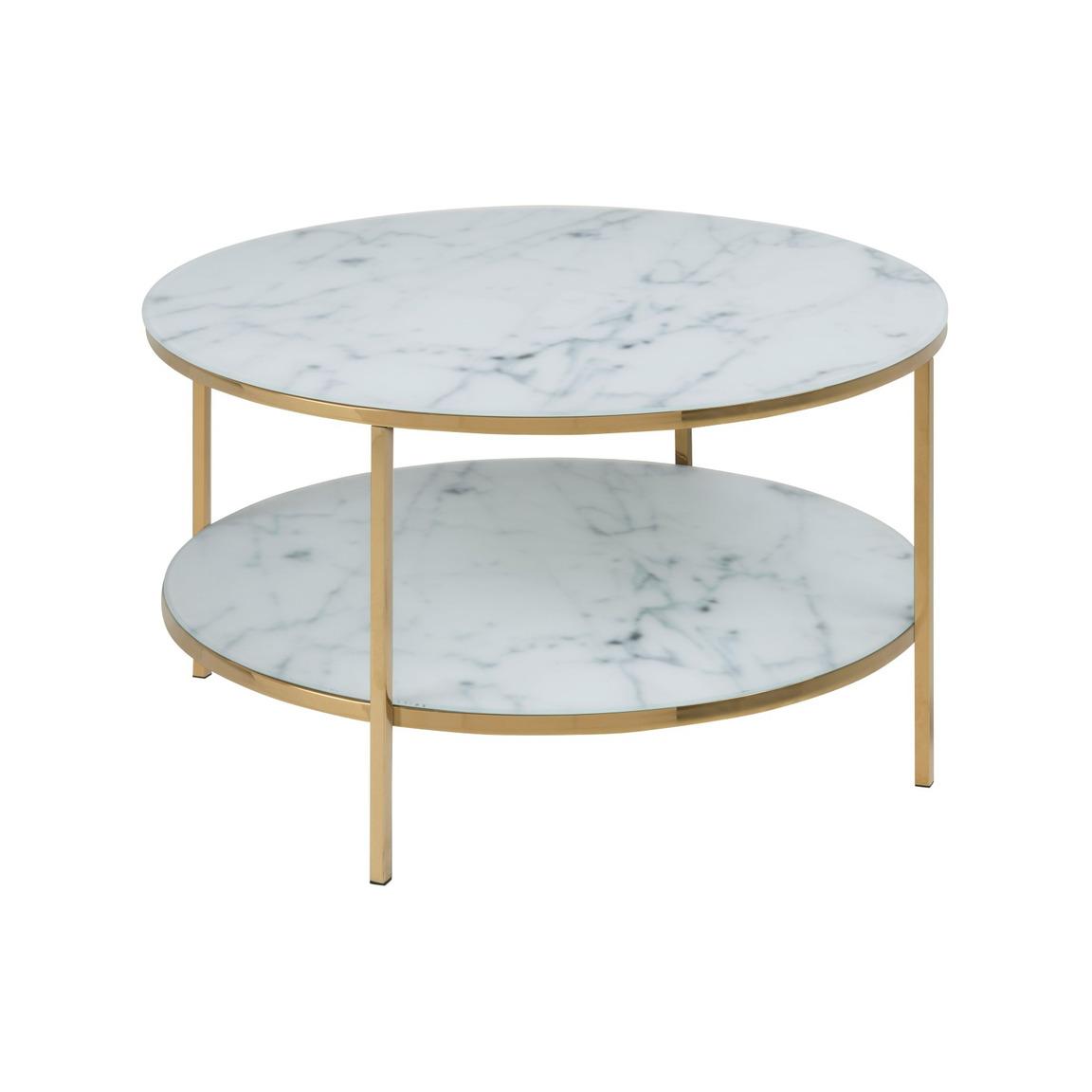 Coffee Table Alisma Ø 80 Double | White Marble & Gold