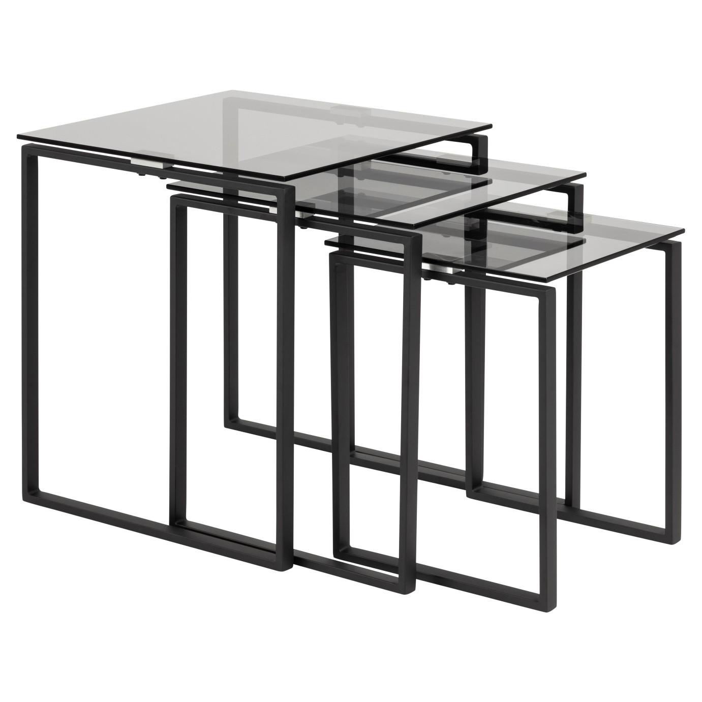 Set of 3 Coffee Tables Marina   Glass