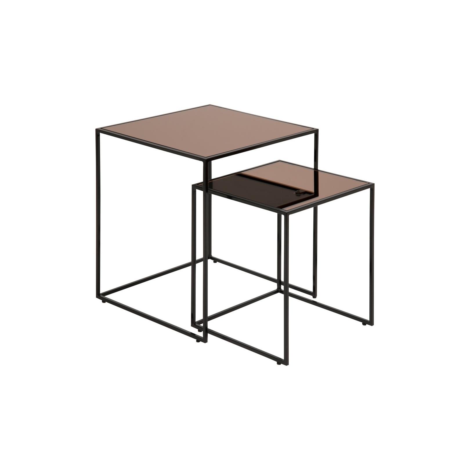 Set of 2 Coffee Tables Wilson | Bronze Mirror Glass