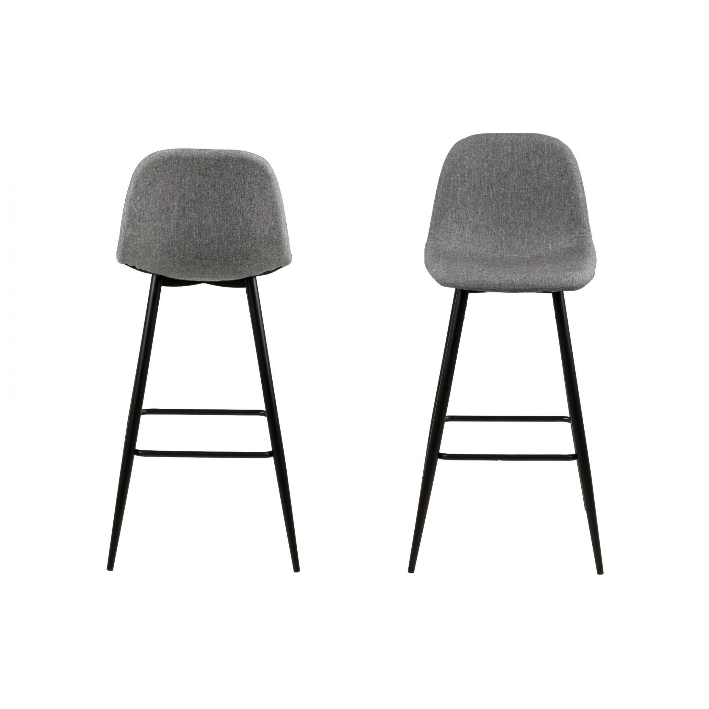 Set of 2 Bar Stools Wendy | Grey / Metal
