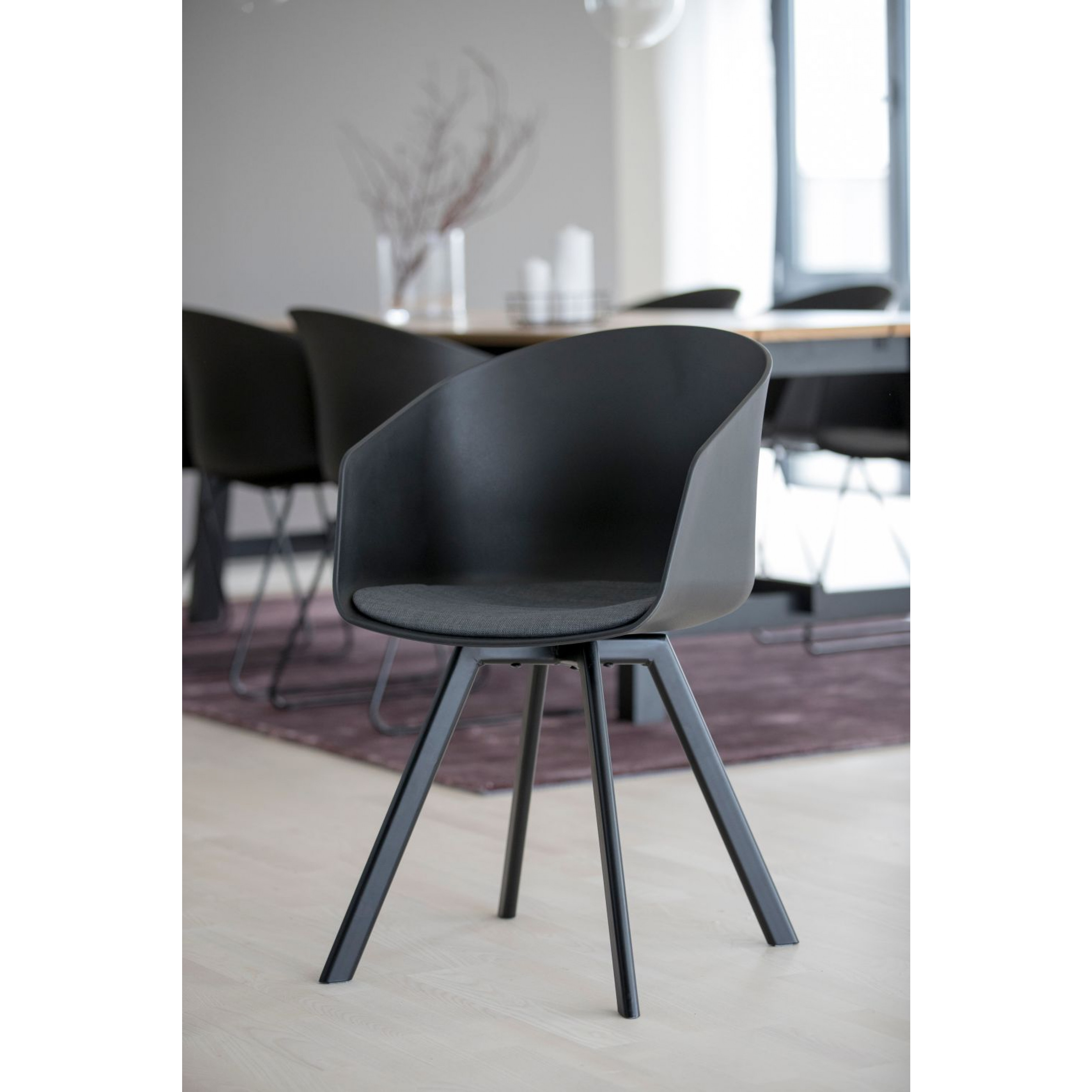 Set of 2 Chairs Loon | Black / Grey Fabric