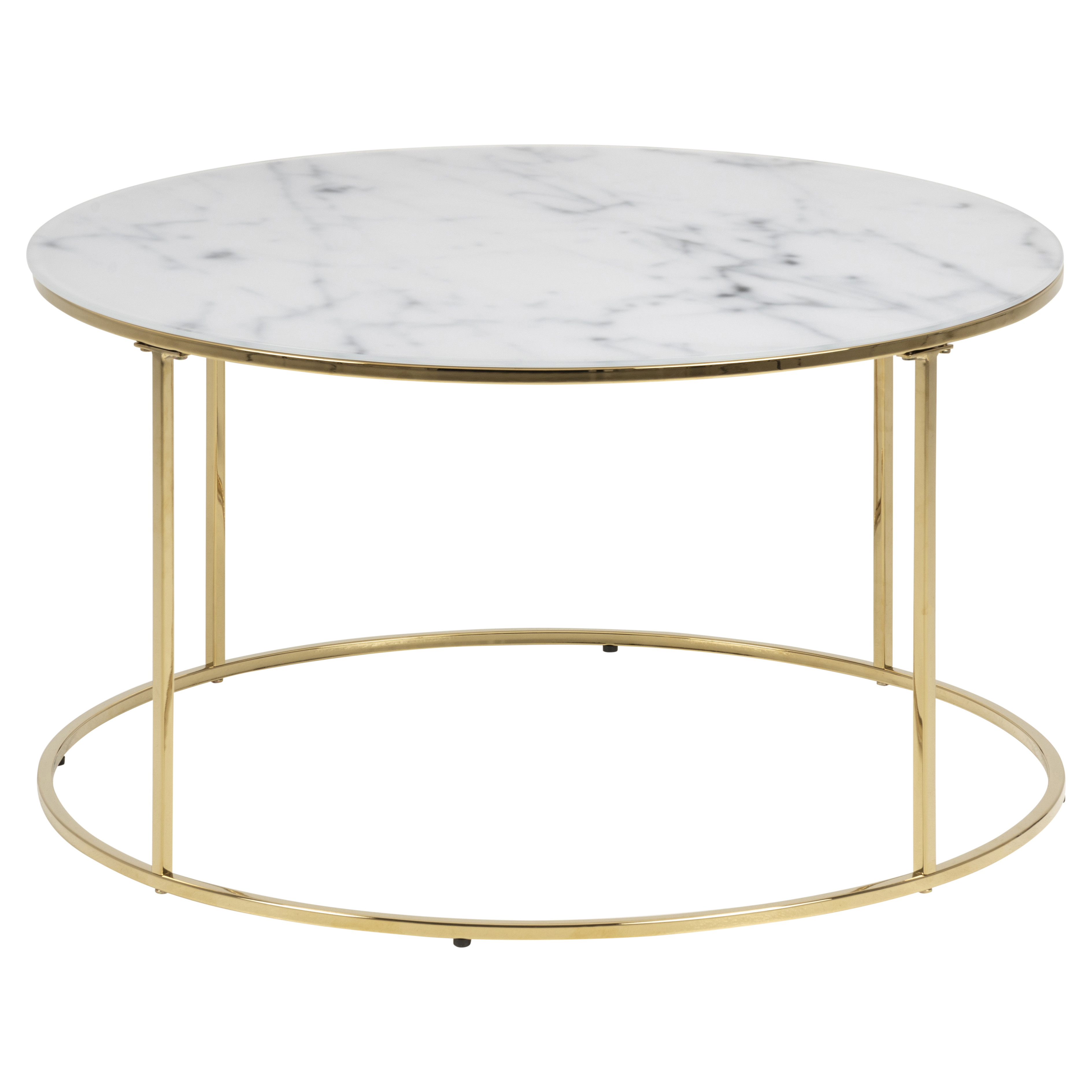 Coffee Table Wilson Ø 80 | White Marble / Gold