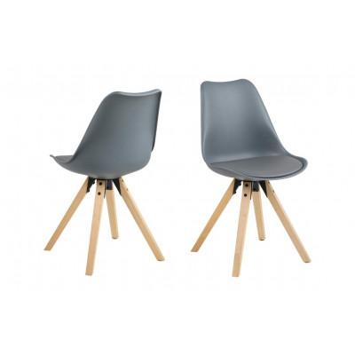 Stühle Nida 2er-Set | Grau + Grau Kissen