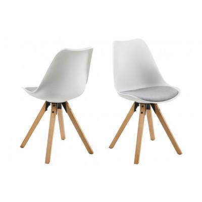 Set of 2 Chairs Nida | White + Light Grey Cushion