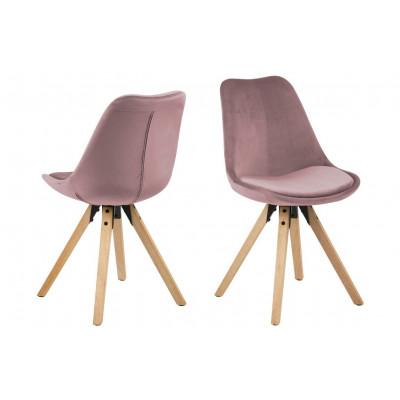Esszimmerstühle Nida | 2er-Set | Rosa + Gummi Holzbeine
