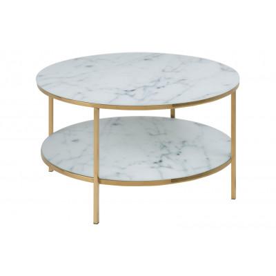 Couchtisch Ali Ø 80 Double | Weißer Marmor / Gold