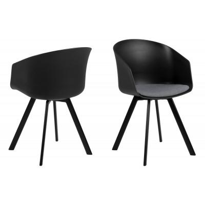 Stühle Loon 2er Set | Schwarz / Grauer Stoff
