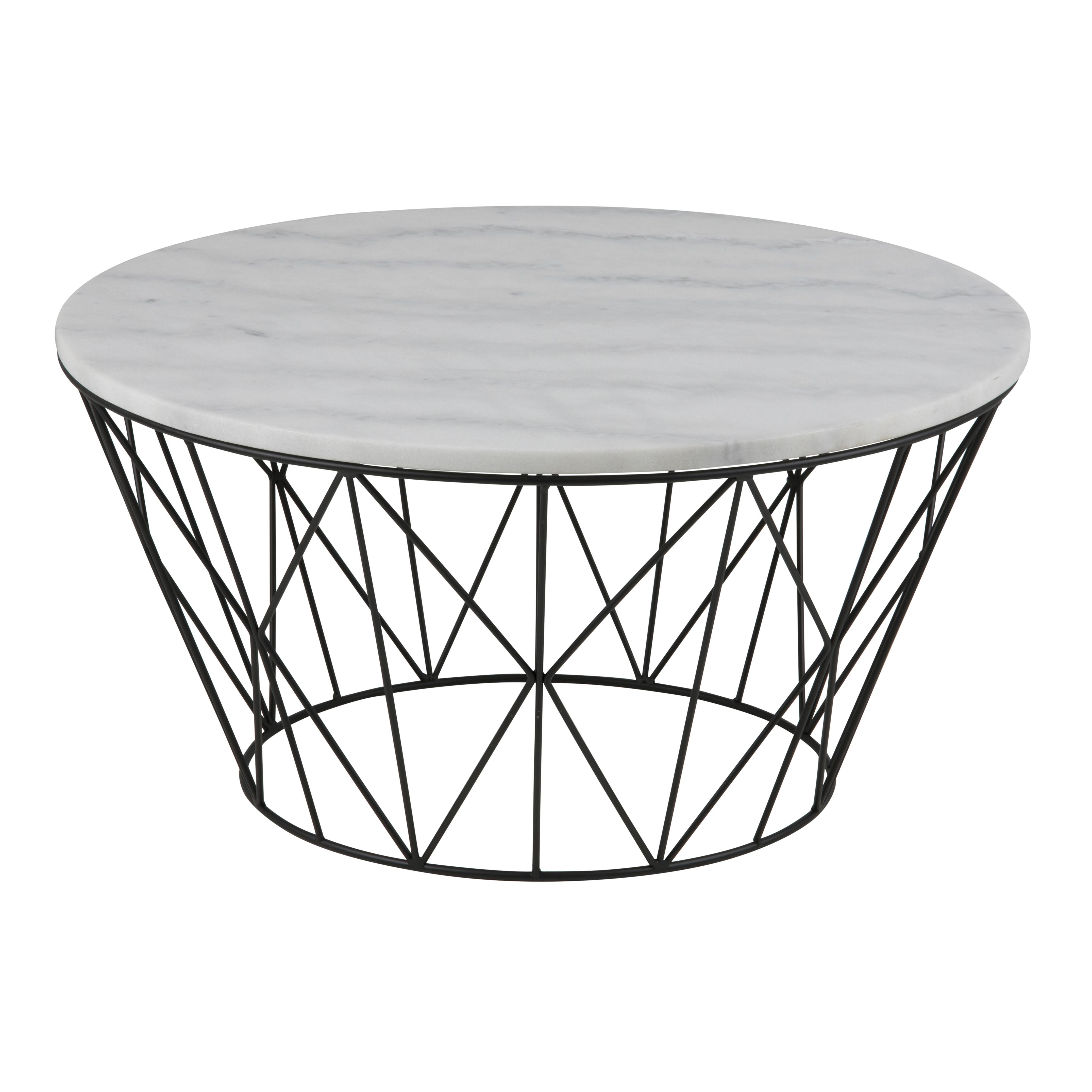 Coffee Table Derby Ø 80 | White Marble / Black