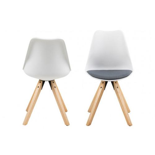 Set of 2 Dining Chairs Nida | White + Dark Grey Cushion