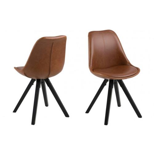 Set of 2 Chairs Nida   Brown + Black Legs