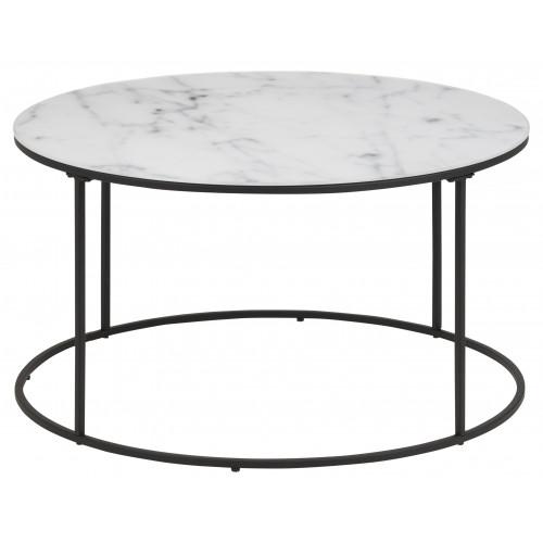 Coffee Table Wilson Ø 80   White Marble / Black