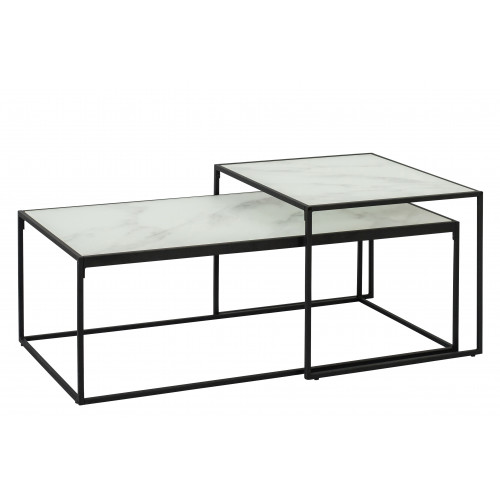 Set of 2 Coffee Tables Wilson   White Marble Black