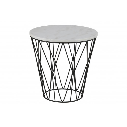 Coffee Table Derby Ø 50   White Marble / Black