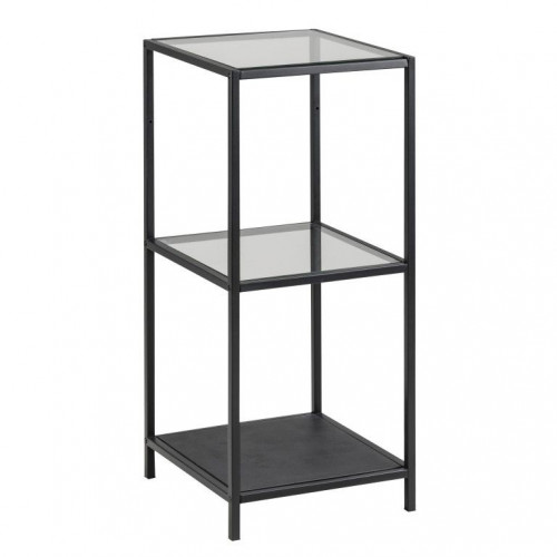Wall Unit Stanley with Glass Shelves | Black