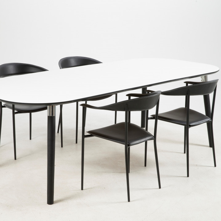 Oval Dining Table Polo 280 cm   4 Persons   White