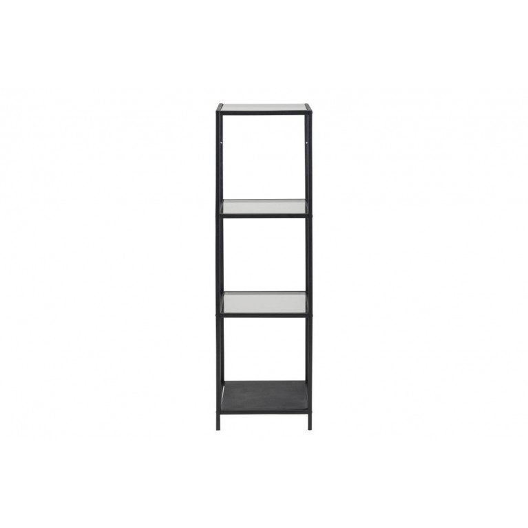 High Wall Unit Stanley with Glass Shelves   Black