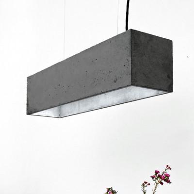 Pendelleuchte B4 | Dunkelgrauer Beton + Silber