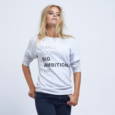 Small Boobs Big Ambitions | Long Sleeves Sweater Cream