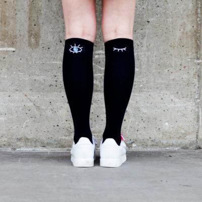 Knee Socks Eyes Open Eyes Shut | Black