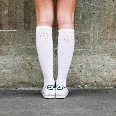 Knee Socks xxx +  | White / Gold Stitching
