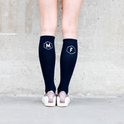 Knee Socks hexagon +  | Black Socks / White Stitching