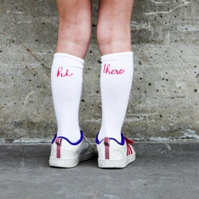 Knee Socks Hi There | White / Pink