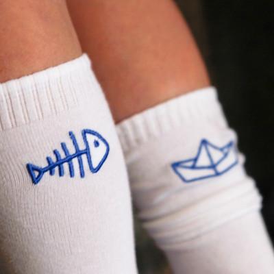 Knee Socks Fish + Boat | White / Blue