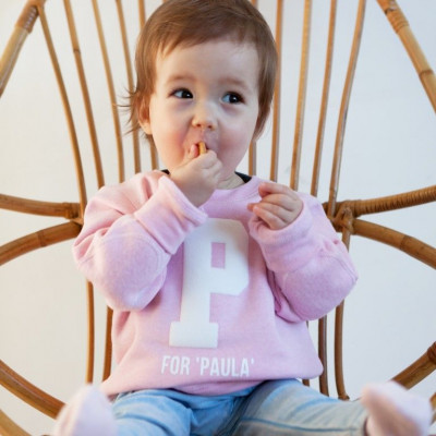 Mini Sweater with Letter | Baby Pink