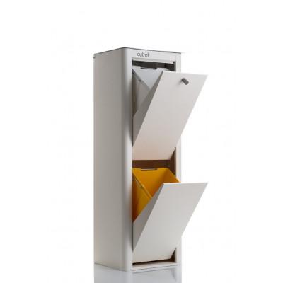 Recycling-Behälter mit zwei Einzelbehältern Cubek | Weiß & Grau