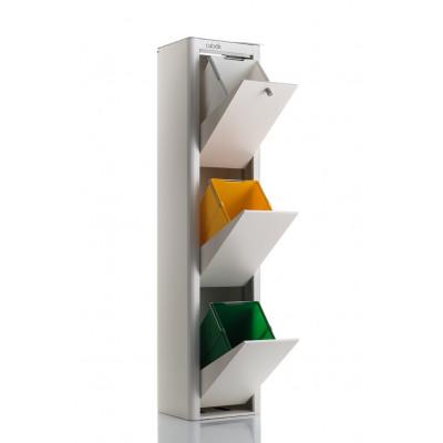 Recycling-Behälter mit drei Einzelbehältern Cubek | Weiß & Grau