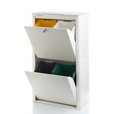 Recycling-Behälter mit vier Einzelbehältern Cubek | Weiß & Grau