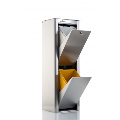 Recycling-Behälter mit zwei Einzelbehältern Cubek Inox | Edelstahl