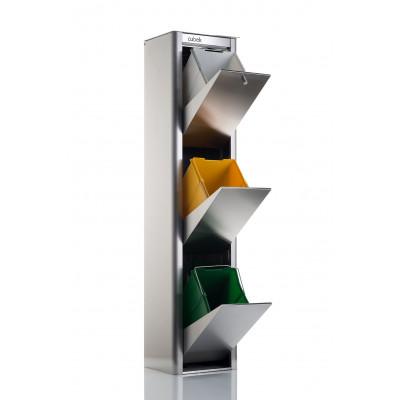 Recycling-Behälter mit drei Einzelbehältern Cubek Inox | Edelstahl
