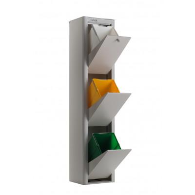 Recycling-Behälter mit drei Einzelbehältern Cubek | Grau