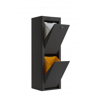 Recycling-Behälter mit zwei Einzelbehältern Cubek | Schwarz