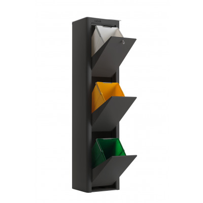 Recycling-Behälter mit drei Einzelbehältern Cubek | Schwarz