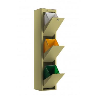 Recycling-Behälter mit drei Einzelbehältern Cubek | Olivgrün