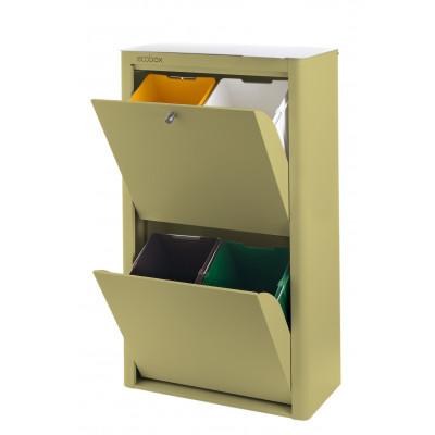 Recycling-Behälter mit vier Einzelbehältern Cubek | Grüne Olive