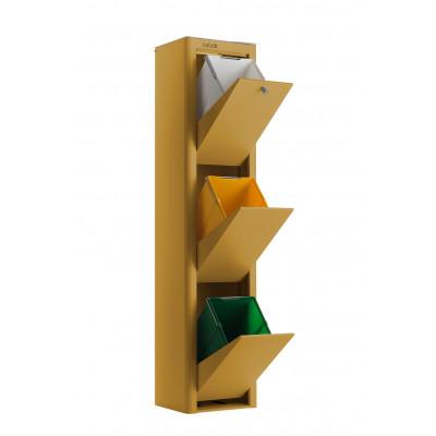 Recycling-Behälter mit drei Einzelbehältern Cubek | Ocker