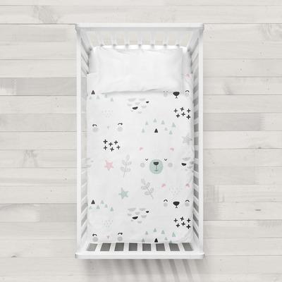 MaxiCrib Bettbezug Faces I Weiß 115x145 + 40x60 cm