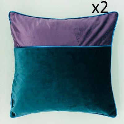 Kissen Chicago Grün-Violett 45 x 45 | Satz/2