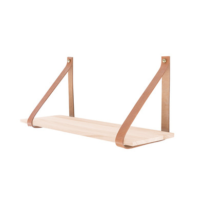Wooden Book Shelf with Leather Strap 20x60cm