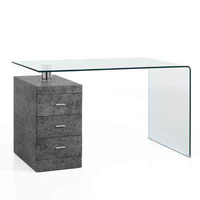 Gebogener Schreibtisch Bow | Betongrau