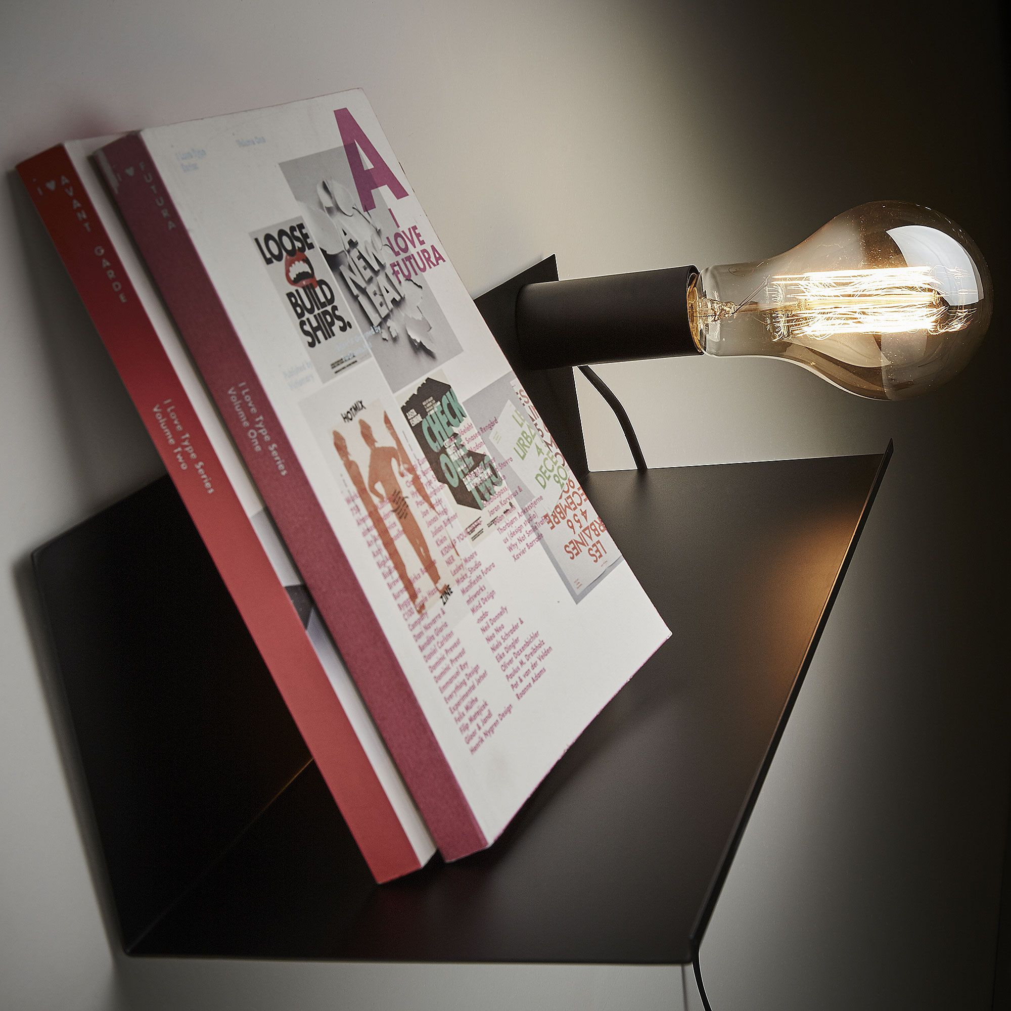 Shelf Wall Lamp Maeko Metal 35 cm | Metal Black
