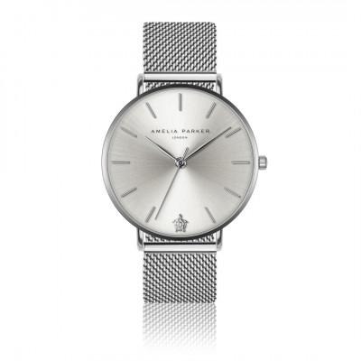 Uhr Capsule Grey   Silbernes Mesh