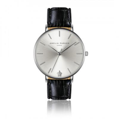 Uhr Capsule Grey   Schwarzes Leder