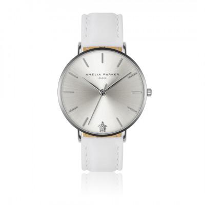 Uhr Capsule Grey   Weißes Leder