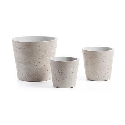 3er-Set Pflanzgefäße Low | Grau