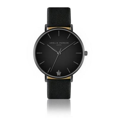 Uhr Jet Black Black Leather   Matt-Schwarz